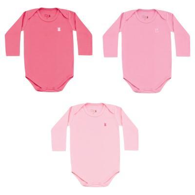 body-basico-manga-longa-kit-3-pecas-kiko-e-kika-pink-rosa-chiclete-e-rosa-bebe