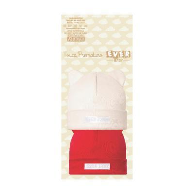 kit-touca-prematuro-2-pecas-creme-e-vermelha